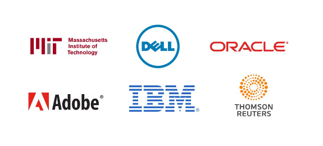 Logo splash. Prompt's clients include with IBM, Oracle, Dell, Adobe, MIT, Thompson Reuters